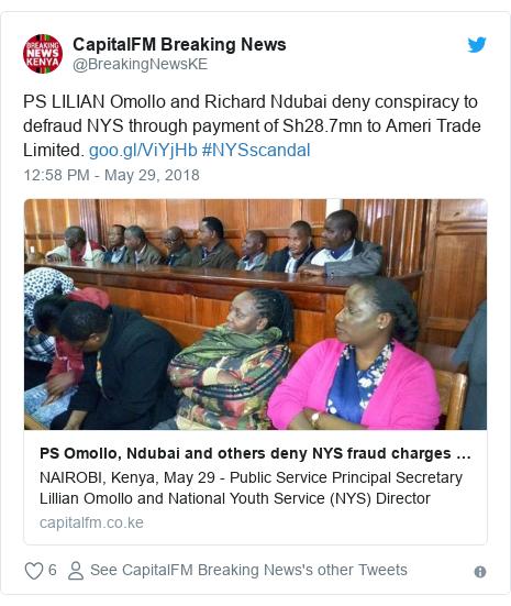 Ujumbe wa Twitter wa @BreakingNewsKE: PS LILIAN Omollo and Richard Ndubai deny conspiracy to defraud NYS through payment of Sh28.7mn to Ameri Trade Limited.  #NYSscandal