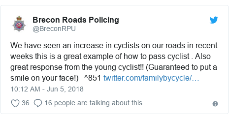 Twitter post by @BreconRPU: We have seen an increase in cyclists on our roads in recent weeks this is a great example of how to pass cyclist . Also great response from the young cyclist!! (Guaranteed to put a smile on your face!)   ^851