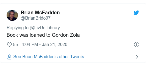 Twitter post by @BrianBrido97: Book was loaned to Gordon Zola