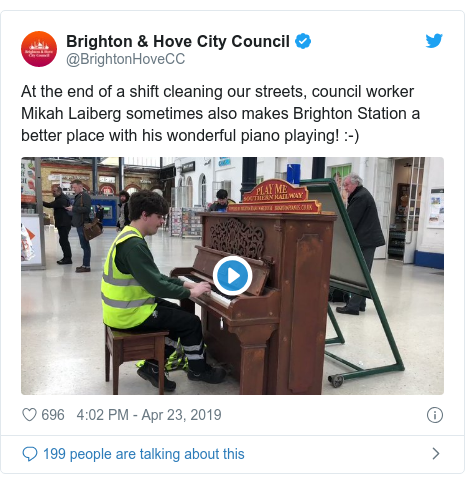 Twitter post by @BrightonHoveCC: At the end of a shift cleaning our streets, council worker Mikah Laiberg sometimes also makes Brighton Station a better place with his wonderful piano playing!  -)