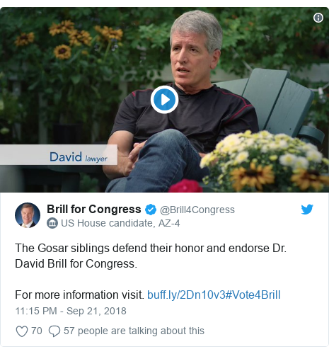 Twitter post by @Brill4Congress: The Gosar siblings defend their honor and endorse Dr. David Brill for Congress.For more information visit. #Vote4Brill