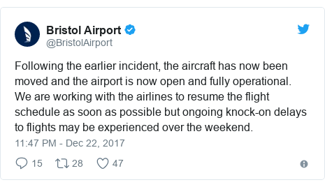Twitter post by @BristolAirport: Following the earlier incident, the aircraft has now been moved and the airport is now open and fully operational.   We are working with the airlines to resume the flight schedule as soon as possible but ongoing knock-on delays to flights may be experienced over the weekend.