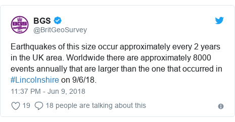 Twitter post by @BritGeoSurvey: Earthquakes of this size occur approximately every 2 years in the UK area. Worldwide there are approximately 8000 events annually that are larger than the one that occurred in #Lincolnshire on 9/6/18.