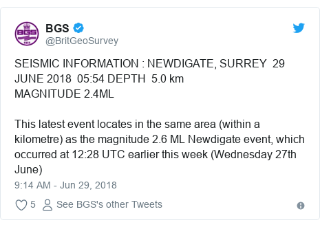 Twitter post by @BritGeoSurvey: SEISMIC INFORMATION   NEWDIGATE, SURREY  29 JUNE 2018  05 54 DEPTH  5.0 kmMAGNITUDE 2.4ML This latest event locates in the same area (within a kilometre) as the magnitude 2.6 ML Newdigate event, which occurred at 12 28 UTC earlier this week (Wednesday 27th June)