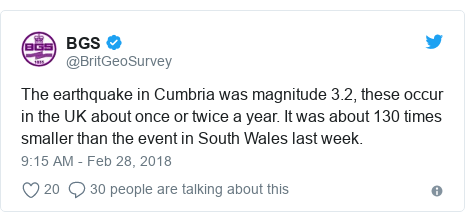 Twitter post by @BritGeoSurvey: The earthquake in Cumbria was magnitude 3.2, these occur in the UK about once or twice a year. It was about 130 times smaller than the event in South Wales last week.