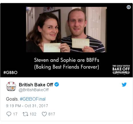 Twitter post by @BritishBakeOff: Goals. #GBBOFinal
