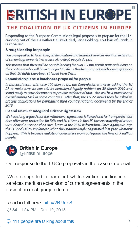 Twitter post by @BritishInEurope: Our response to the EUCo proposals in the case of no-deal 'We are appalled to learn that, while aviation and financial services merit an extension of current agreements in the case of no deal, people do not....Read in full here