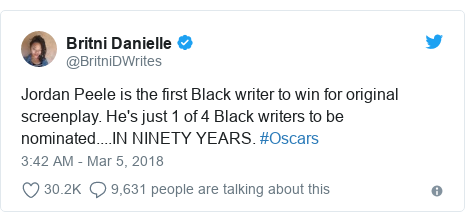 Twitter post by @BritniDWrites: Jordan Peele is the first Black writer to win for original screenplay. He's just 1 of 4 Black writers to be nominated....IN NINETY YEARS. #Oscars