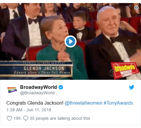 Twitter post by @BroadwayWorld: Congrats Glenda Jackson! @threetallwomen #TonyAwards