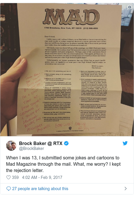 Twitter post by @BrockBaker: When I was 13, I submitted some jokes and cartoons to Mad Magazine through the mail. What, me worry? I kept the rejection letter.