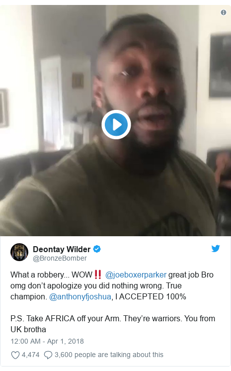 Twitter post by @BronzeBomber: What a robbery... WOW‼️ @joeboxerparker great job Bro omg don't apologize you did nothing wrong. True champion. @anthonyfjoshua, I ACCEPTED 100% P.S. Take AFRICA off your Arm. They're warriors. You from UK brotha