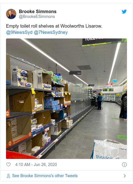 Twitter post by @BrookeESimmons: Empty toilet roll shelves at Woolworths Lisarow.  @9NewsSyd @7NewsSydney
