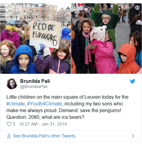 Twitter post by @BrunildaPali: Little children on the main square of Leuven today for the #climate, #Youth4Climate, including my two sons who make me always proud. Demand  save the penguins! Question  2080, what are ice bears?