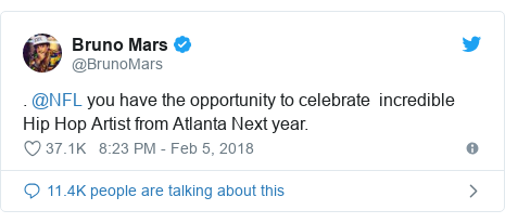 Twitter post by @BrunoMars: . @NFL you have the opportunity to celebrate  incredible Hip Hop Artist from Atlanta Next year.
