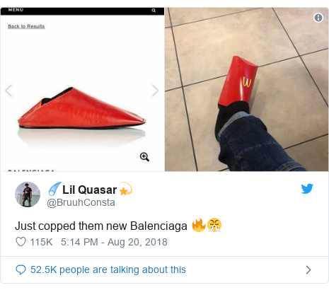 Twitter post by @BruuhConsta: Just copped them new Balenciaga 🔥😤