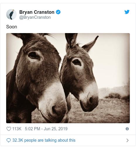 Twitter post by @BryanCranston: Soon