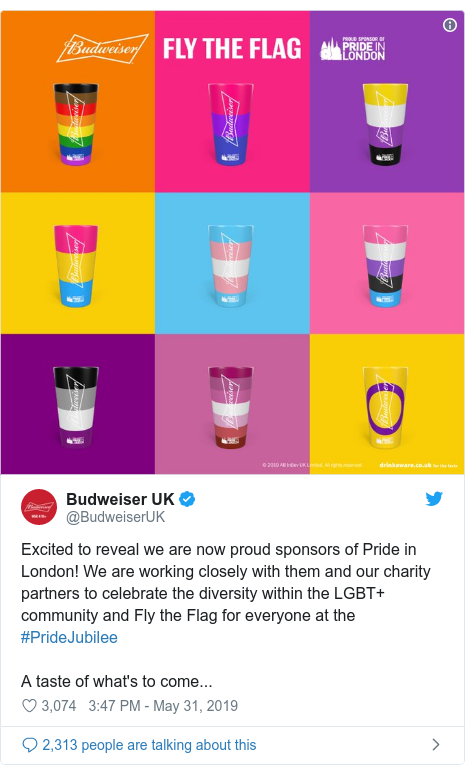 Twitter post by @BudweiserUK: Excited to reveal we are now proud sponsors of Pride in London! We are working closely with them and our charity partners to celebrate the diversity within the LGBT+ community and Fly the Flag for everyone at the #PrideJubilee A taste of what's to come...