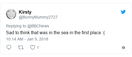 Twitter post by @BunnyMummy2727: Sad to think that was in the sea in the first place  (
