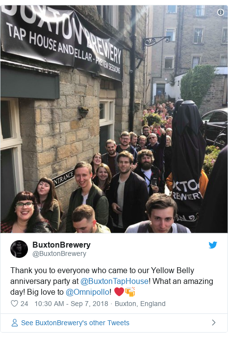 Twitter post by @BuxtonBrewery: Thank you to everyone who came to our Yellow Belly anniversary party at @BuxtonTapHouse! What an amazing day! Big love to @Omnipollo! ❤️🍻