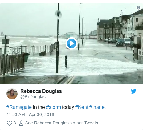 Twitter post by @BxDouglas: #Ramsgate in the #storm today #Kent #thanet