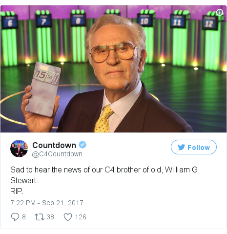 Twitter post by @C4Countdown: Sad to hear the news of our C4 brother of old, William G Stewart. RIP. pic.twitter.com/nmDaDJvlii