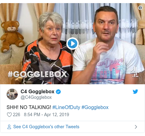 Twitter post by @C4Gogglebox: SHH! NO TALKING! #LineOfDuty #Gogglebox