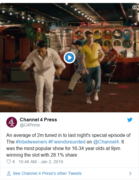 Twitter post by @C4Press: An average of 2m tuned in to last night's special episode of The #Inbetweeners #Fwendsreunited on @Channel4. It was the most popular show for 16-34 year olds at 9pm winning the slot with 28.1% share