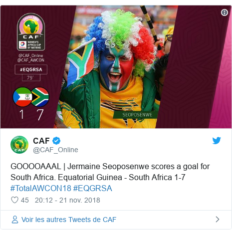 Twitter publication par @CAF_Online: GOOOOAAAL | Jermaine Seoposenwe scores a goal for South Africa. Equatorial Guinea - South Africa 1-7  #TotalAWCON18 #EQGRSA