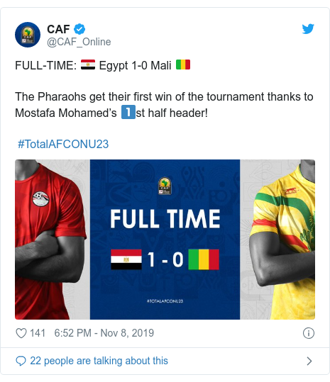 Twitter post by @CAF_Online: FULL-TIME  🇪🇬 Egypt 1-0 Mali 🇲🇱The Pharaohs get their first win of the tournament thanks to Mostafa Mohamed's 1⃣st half header! #TotalAFCONU23