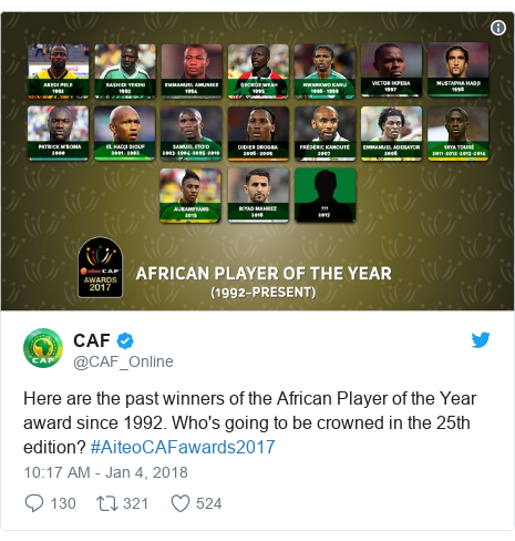 Twitter post by @CAF_Online: Here are the past winners of the African Player of the Year award since 1992. Who's going to be crowned in the 25th edition? #AiteoCAFawards2017
