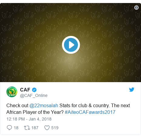 Twitter post by @CAF_Online: Check out @22mosalah Stats for club & country. The next African Player of the Year? #AiteoCAFawards2017