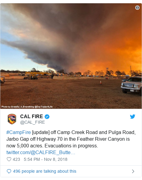 Twitter post by @CAL_FIRE: #CampFire [update] off Camp Creek Road and Pulga Road, Jarbo Gap off Highway 70 in the Feather River Canyon is now 5,000 acres. Evacuations in progress.