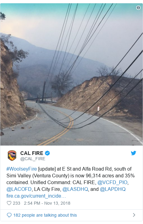 Twitter post by @CAL_FIRE: #WoolseyFire [update] at E St and Alfa Road Rd, south of Simi Valley (Ventura County) is now 96,314 acres and 35% contained. Unified Command  CAL FIRE, @VCFD_PIO, @LACOFD, LA City Fire, @LASDHQ, and @LAPDHQ