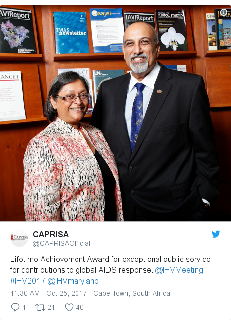 Twitter post by @CAPRISAOfficial: Lifetime Achievement Award for exceptional public service for contributions to global AIDS response. @IHVMeeting  #IHV2017 @IHVmaryland