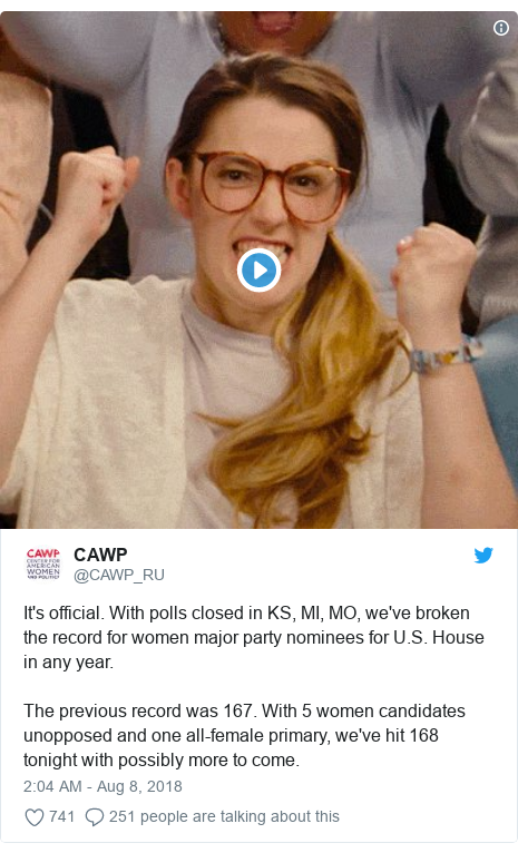Twitter post by @CAWP_RU: It's official. With polls closed in KS, MI, MO, we've broken the record for women major party nominees for U.S. House in any year.  The previous record was 167. With 5 women candidates unopposed and one all-female primary, we've hit 168 tonight with possibly more to come.