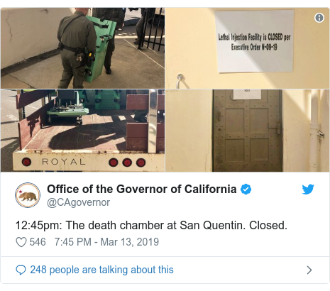 Twitter post by @CAgovernor: 12 45pm  The death chamber at San Quentin. Closed.