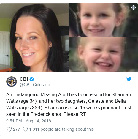 Twitter post by @CBI_Colorado: An Endangered Missing Alert has been issued for Shannan Watts (age 34), and her two daughters, Celeste and Bella Watts (ages 3&4). Shannan is also 15 weeks pregnant. Last seen in the Frederick area. Please RT
