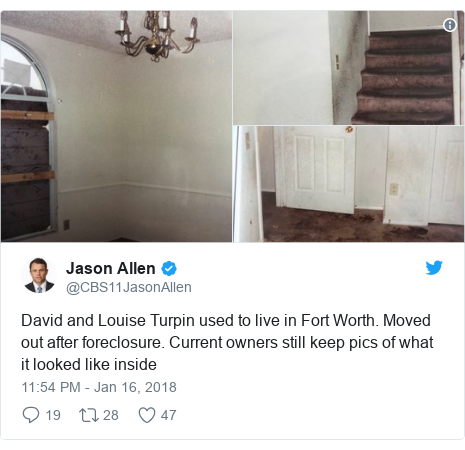 Twitter post by @CBS11JasonAllen: David and Louise Turpin used to live in Fort Worth. Moved out after foreclosure. Current owners still keep pics of what it looked like inside