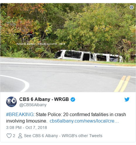 Twitter post by @CBS6Albany: #BREAKING  State Police  20 confirmed fatalities in crash involving limousine.