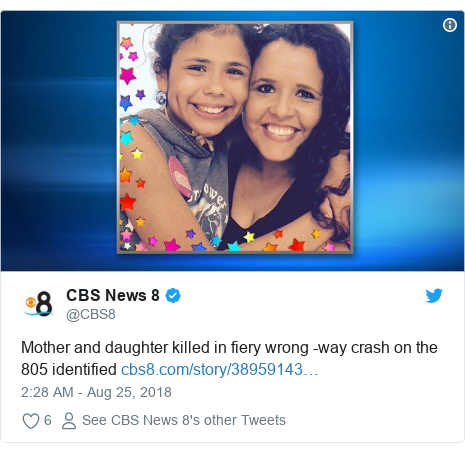 Twitter post by @CBS8: Mother and daughter killed in fiery wrong -way crash on the 805 identified