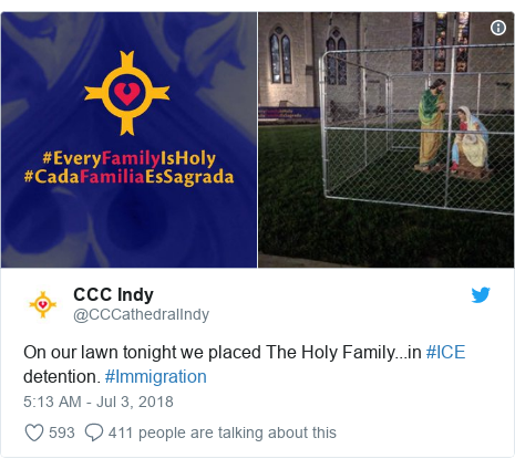 Twitter post by @CCCathedralIndy: On our lawn tonight we placed The Holy Family...in #ICE detention. #Immigration