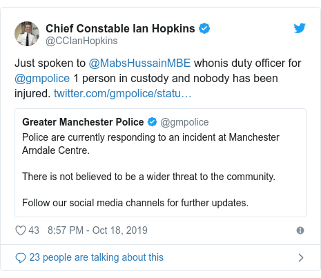 Twitter post by @CCIanHopkins: Just spoken to @MabsHussainMBE whonis duty officer for @gmpolice 1 person in custody and nobody has been injured.