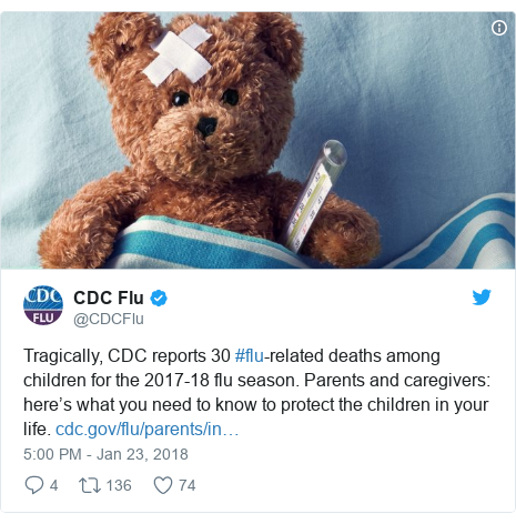 Twitter post by @CDCFlu: Tragically, CDC reports 30 #flu-related deaths among children for the 2017-18 flu season. Parents and caregivers  here's what you need to know to protect the children in your life.