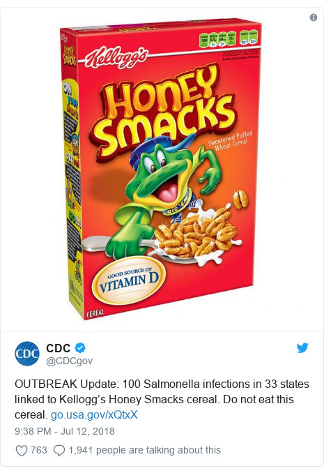 Twitter post by @CDCgov: OUTBREAK Update  100 Salmonella infections in 33 states linked to Kellogg's Honey Smacks cereal. Do not eat this cereal.