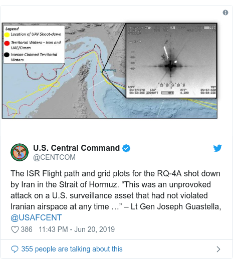 "Twitter post by @CENTCOM: The ISR Flight path and grid plots for the RQ-4A shot down by Iran in the Strait of Hormuz. ""This was an unprovoked attack on a U.S. surveillance asset that had not violated Iranian airspace at any time …"" – Lt Gen Joseph Guastella, @USAFCENT"