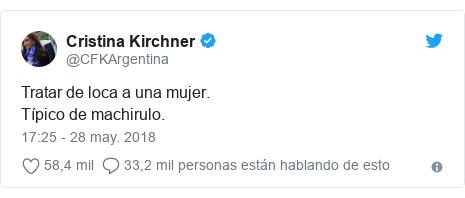 Publicación de Twitter por @CFKArgentina: Tratar de loca a una mujer. Típico de machirulo.