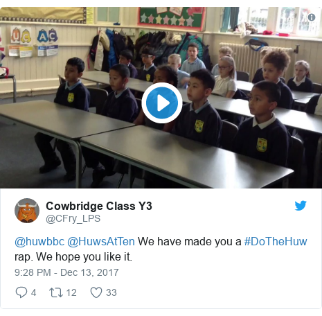 Neges Twitter gan @CFry_LPS: @huwbbc @HuwsAtTen We have made you a #DoTheHuw rap. We hope you like it.