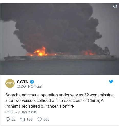 Twitter pesan oleh @CGTNOfficial: Search and rescue operation under way as 32 went missing after two vessels collided off the east coast of China; A Panama registered oil tanker is on fire