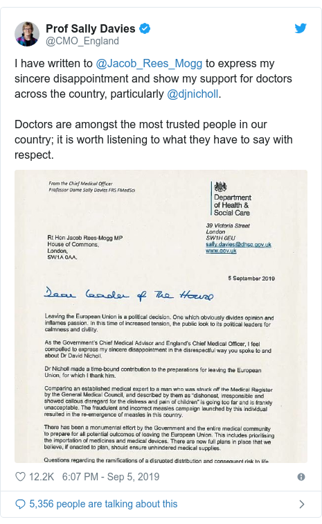 Twitter post by @CMO_England: I have written to @Jacob_Rees_Mogg to express my sincere disappointment and show my support for doctors across the country, particularly @djnicholl. Doctors are amongst the most trusted people in our country; it is worth listening to what they have to say with respect.