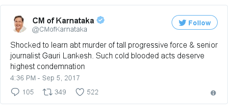 Twitter post by @CMofKarnataka: Shocked to learn abt murder of tall progressive force & senior journalist Gauri Lankesh. Such cold blooded acts deserve highest condemnation